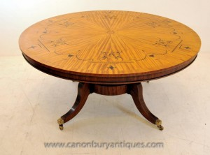 Centre Regency Dining Table dans les tableaux Satinwood Marqueterie Inlay