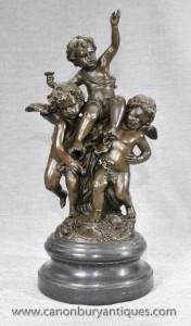 Français Bronze Trio Chérubins Statue classique Chérubins Putti