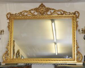 Grand Louis XV Gilt Mantle Miroir rococo français Miroirs