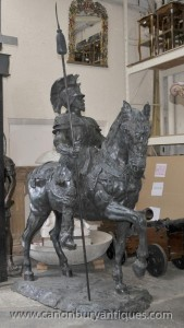 Lifesize gladiateur romain à cheval Statue Sculpture Art architectural