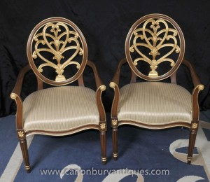 Paire Empire français Gilt fauteuils fauteils Accent Piece