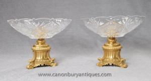 Paire français Louis XVI Cut verre Ormolu Compotiers Dish soupières verre