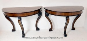 Tables Pair Antique Regency Console Demi Lune Table Acajou