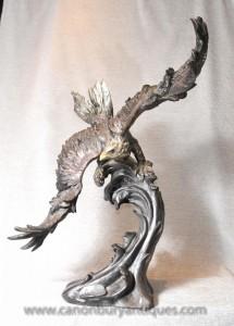 3 pi aigle de bronze Statue Signé American Eagles proie Oiseau