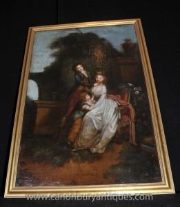 Anglais Antique Peinture à l'huile Portrait de famille géorgienne du 18ème siècle