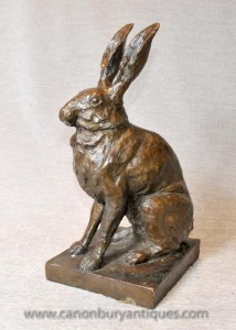 Anglais Bronze Lapin Lapin Lapins Statue Hare Campagne Castings