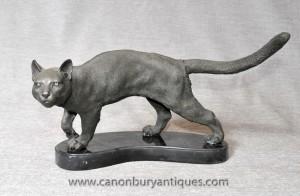 Anglais Bronze chat tigré Statue casting Chats Chaton
