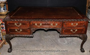 Antique Chippendale Mahogany Bureau de rédaction Table Bureau 1,920