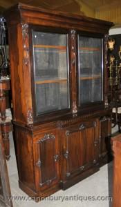 Antique victorienne écossaise Acajou cinq portes ou Bibliothèque Vitrine