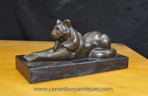 Art Deco Bronze Cat Panther Puma Statue de Milo cubiste Cheetah