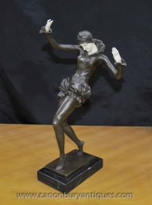 Art Deco Bronze Femme Figurine Dancer Signée Nick Harlequin Dancer
