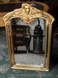 Art Nouveau français Gilt Pier Miroir Maiden Miroirs