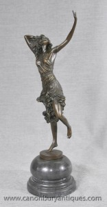 Art déco français Bronze Dancer Figurine En DH Chiparus