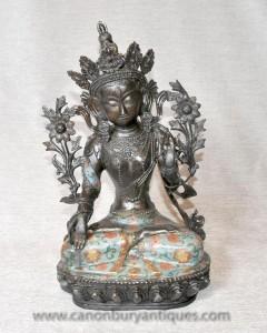 Bouddhiste Statue Bronze Temple Népal Usnisa Sitatapatra Bouddha Art