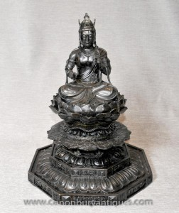 Bronze Bouddha birman Statue Lotus Trône art bouddhique Bouddhisme