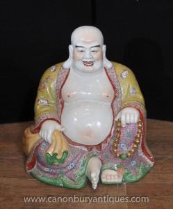 Chinoise Famille Rose Porcelaine Statue de Bouddha Heureux bouddhas bouddhiste