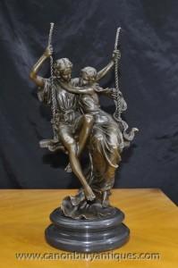 Classica italiens Bronze Lovers sur la balançoire Signé Cegazo