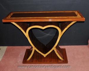 Console Coeur Art Déco de table mobilier vintage des années 1920