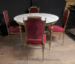 Empire français Dining Set table et chaises Ormolu