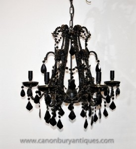 Empire français Verre Cristal Noir Light Chandelier