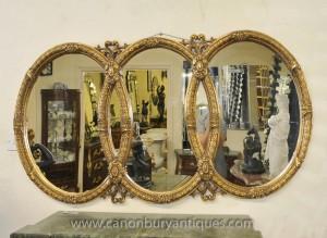 Français Louis XVI Triple ovale doré Miroir verre Miroirs