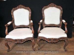 Français Louis XVI en bois sculpté fauteuils provincial président Fauteuils