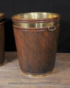 Géant victorienne Peat Bucket pot planteur Mahogany Brass
