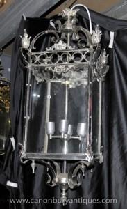 Grand Empire français Silver Plate Lanterne Lampe