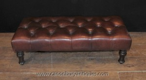 Grand Regency Bouton profonde Tabouret de sièges en cuir Ottoman