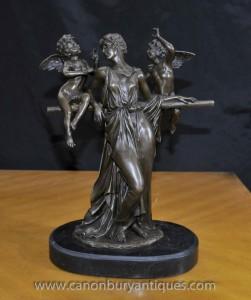 Italienne Bronze Maiden et Chérubins Statue Figurine classique Signé