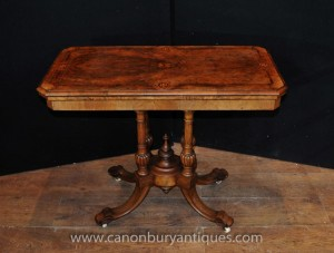 Jeux de cartes victoriennes Antique Table Noyer Side End tables de salon