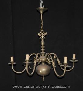 Laiton antique Néerlandais Lustre Art Nouveau Lampe