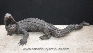 Lifesize Bronze Crocodile Alligator Croc 7ft