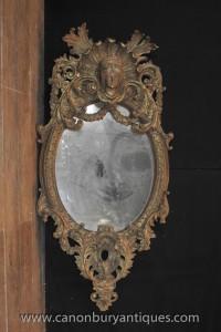 Miroirs Antique français Louis XVI doré miroir ovale sculpté
