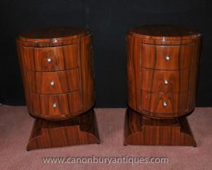 Paire Art déco cylindriques chevet Commodes Armoires Tables de chevet