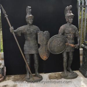 Paire Lifesize fonte romaine gladiateur Statues Centurion