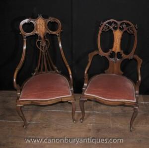 Paire Regency Acajou Antique fauteuils fauteils Marqueterie Inlay