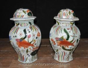 Paire chinoise Ming Lidded Pots Pot de gingembre Urnes Goldfish