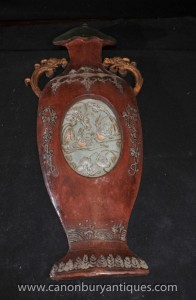 Paire chinoise main en bois sculpté Plaques Urne