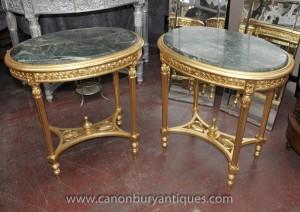 Paire français Louis XVI doré Ovale Side Tables Cocktail Table