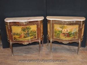 Paire française antique Vernis Martine peint coffres Armoires Commodes Laque