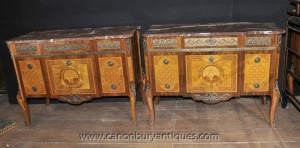 Paire françaises anciennes Louis-Philippe Commodes Commodes Tiroirs Empire Inlay Meubles