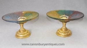 Paire italienne en verre de Murano Compotiers Ormolu base