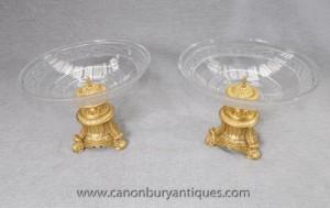 Plats Empire français Ormolu Cut verre Compotiers Ormolu Bowl