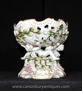 Porcelaine de Dresde Chérubin Floral Bowl Comport Dish Soupière Encrusted