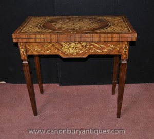 Regency Jeux Echecs Tableau Marqueterie Inlay Console Tables Mobilier