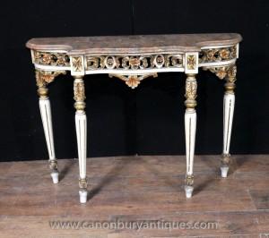 Rococo italien peinte Console salle Tables Mobilier