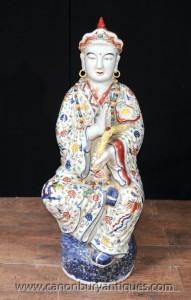 Satsuma japonais porcelaine Statue de Bouddha bouddhiste Wise Figurine Bouddhisme