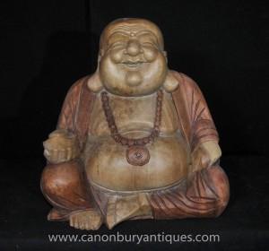 Sculpté à la main Heureux Statue de Bouddha Rire art bouddhique