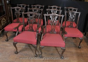 Set 10 Acajou Chippendale Chaise English Meubles